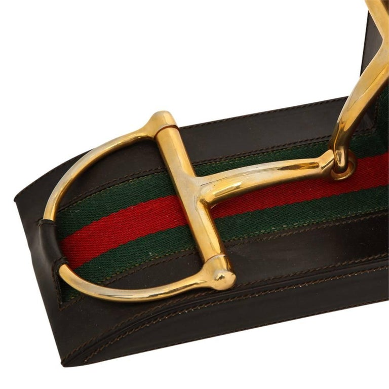 Late 20th Century Gucci Horsebit Leather and Brass Bookends Signed Italy 1970's For Sale