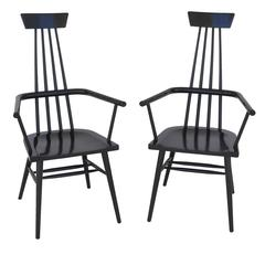 Pair of Paul McCobb High Back Shaker Inspired Black Lacquered Armchairs, USA
