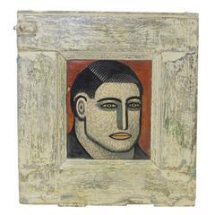 "Sean Earley Oil on Cabinet Door ""Someone"" 1985"