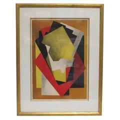 Jacques Villon Color Aquatint Composition Constructivist France 1920's