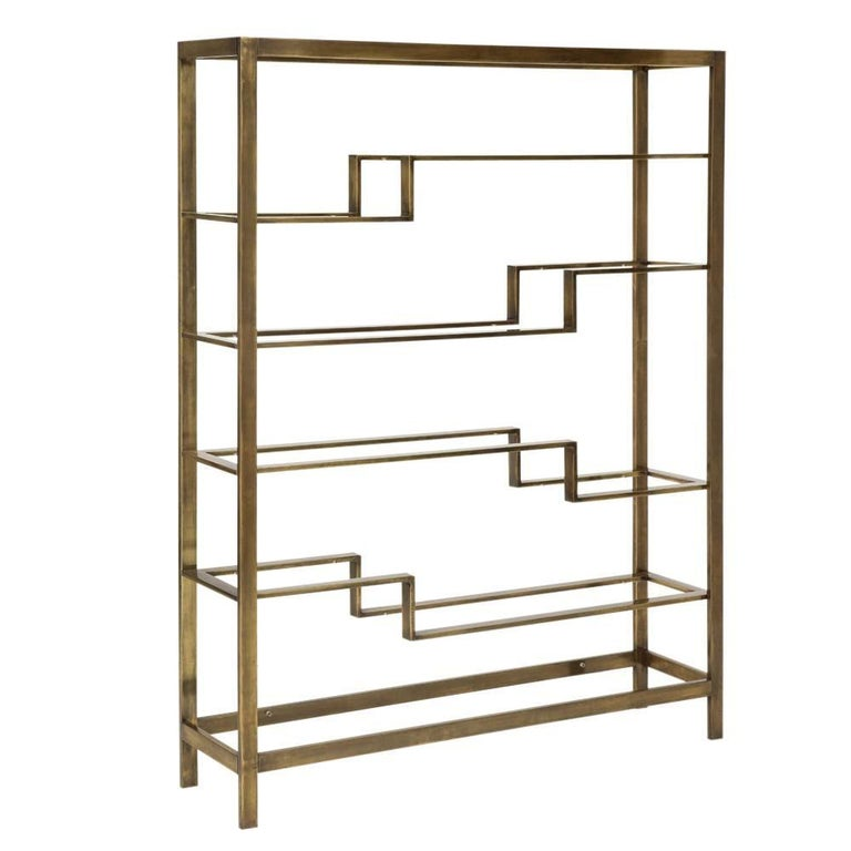 etagere bronzed toned steel and glass by baker usa 1970s for sale at 1stdibs. Black Bedroom Furniture Sets. Home Design Ideas