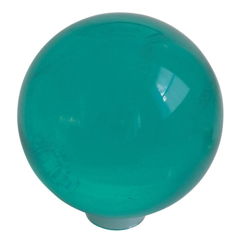 Mid-Century Modern Acrylic Bowling Ball Lucite by Mark X Emerald Green Undrilled, USA, 1970s For Sale