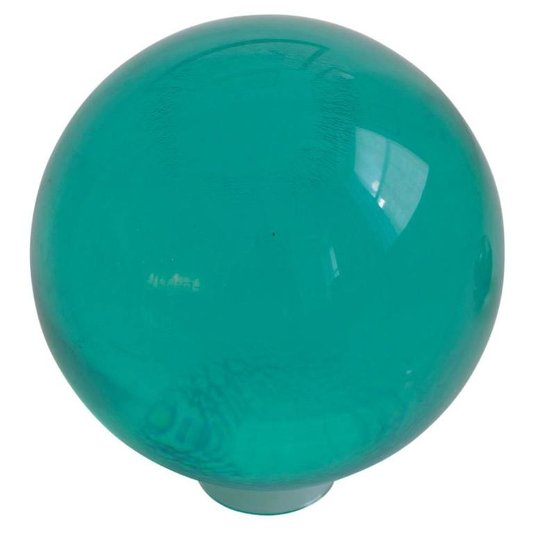 "Acrylic bowling ball Lucite by Mark X emerald green undrilled, USA, 1970s. Displayed on a one inch clear acrylic base. Never used. Mark ""X"" made color and clear acrylic balls in the late 1960s-early 1970s in their York Pennsylvania factory."