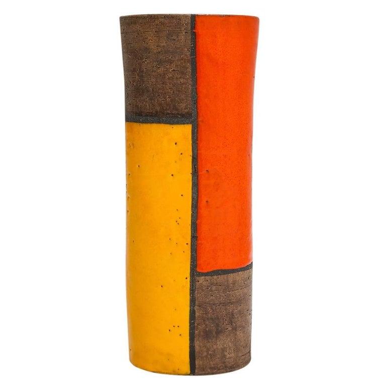 Aldo Londi Bitossi Raymor Ceramic Vase Mondrian Signed 1960s Italy