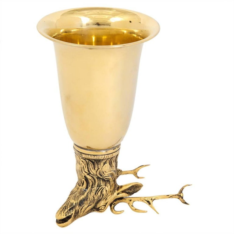 Late 20th Century Gucci Stag Brass Gold Stirrup Cup Signed, Italy, 1970s For Sale