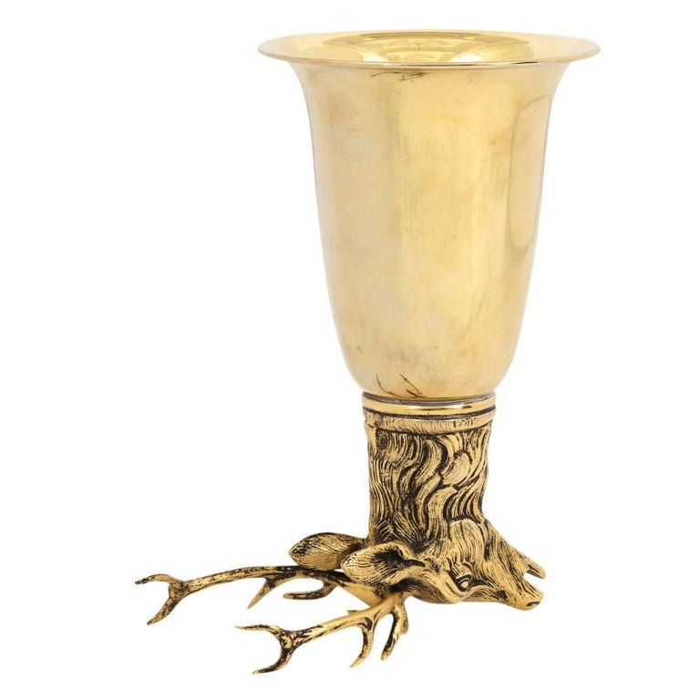 Gucci Stag Brass Gold Stirrup Cup Signed, Italy, 1970s For Sale 2