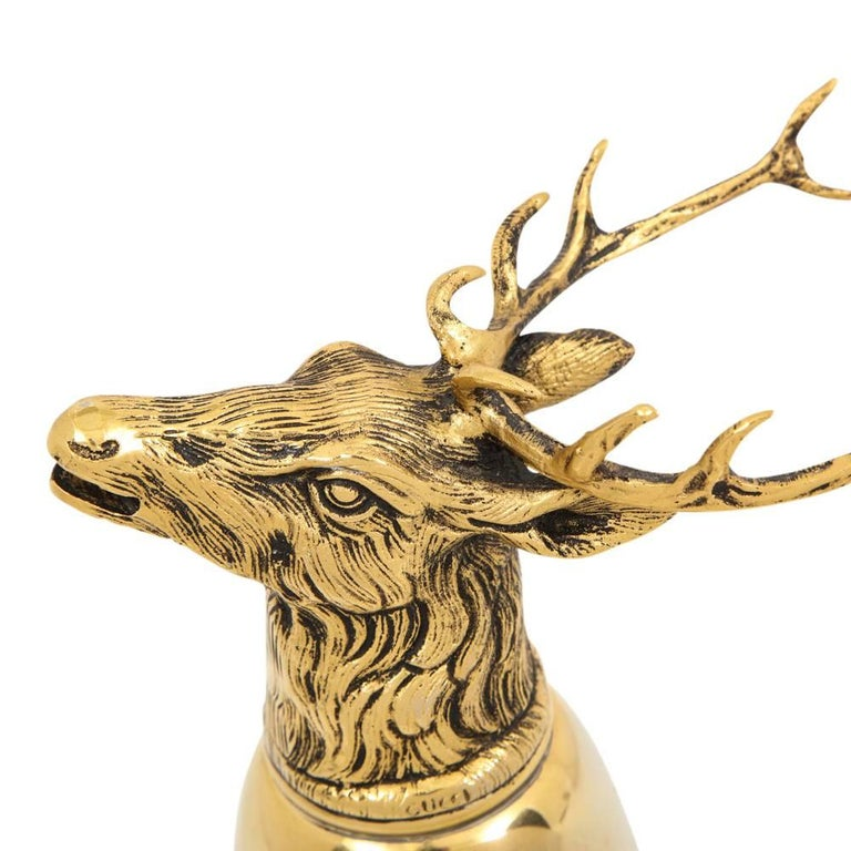 Gucci Stag Brass Gold Stirrup Cup Signed, Italy, 1970s In Good Condition For Sale In New York, NY