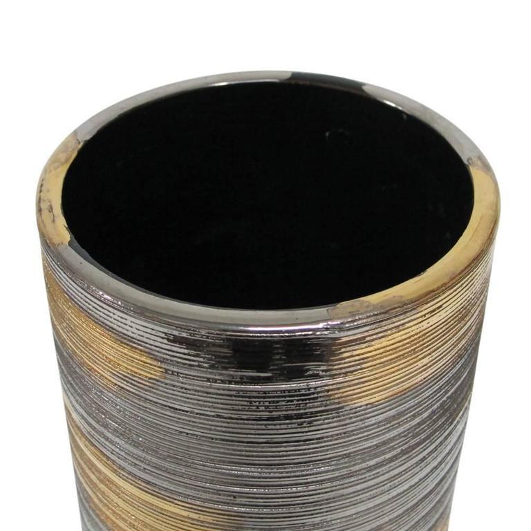 Gold Italy Platinum: Bitossi Ceramic Vase Brushed Metallic Gold Platinum, Italy