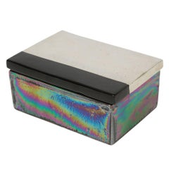 Bitossi Raymor Ceramic Box Iridescent Metallic Silver Black Signed Italy, 1960s