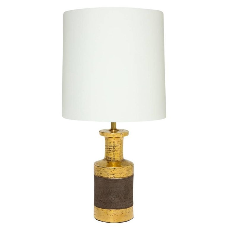 Mid-Century Modern Bitossi Lamps, Ceramic, Gold and Matte Brown For Sale