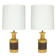 Bitossi for Bergboms Gold and Matte Brown Ceramic Table Lamps, Italy, 1960s