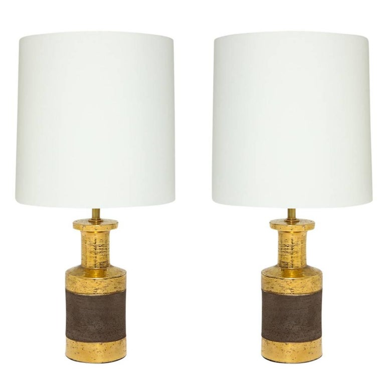 Bitossi For Bergboms Gold And Matte Brown Ceramic Table Lamps Italy