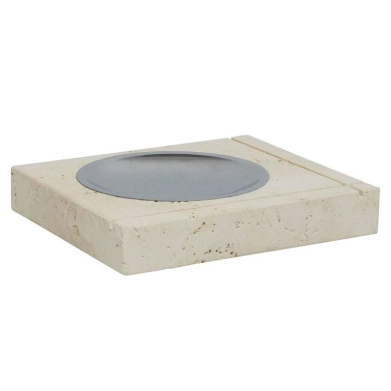 Italian F. Lli Mannelli Ashtray, Travertine and Stainless Steel, Signed For Sale