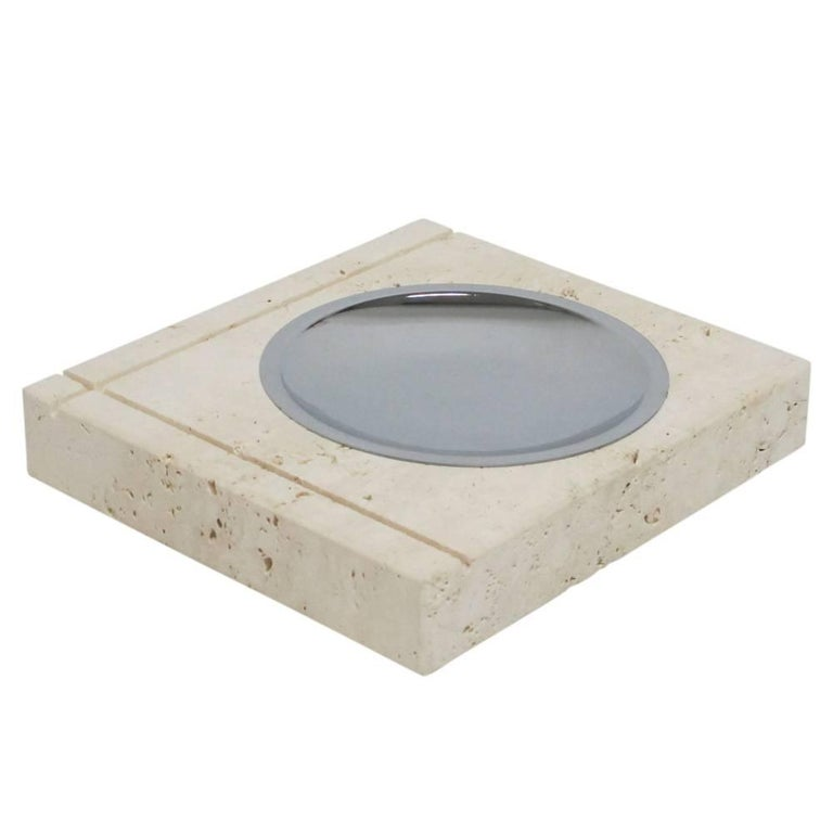 F. lli Mannelli ashtray, travertine and stainless steel. signed. Small scale chunky travertine ashtray with incised decoration and shallow stainless steel tray. Signed on verso: Vero Travertino Di Rapolano (True Travertine from Rapolano) and