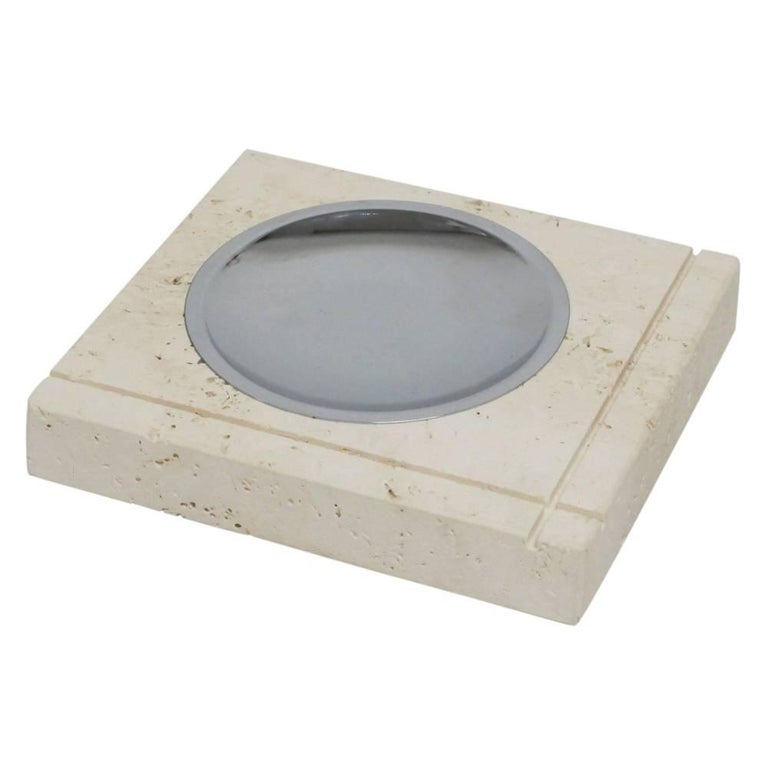 Mid-Century Modern F. Lli Mannelli Ashtray, Travertine and Stainless Steel, Signed For Sale