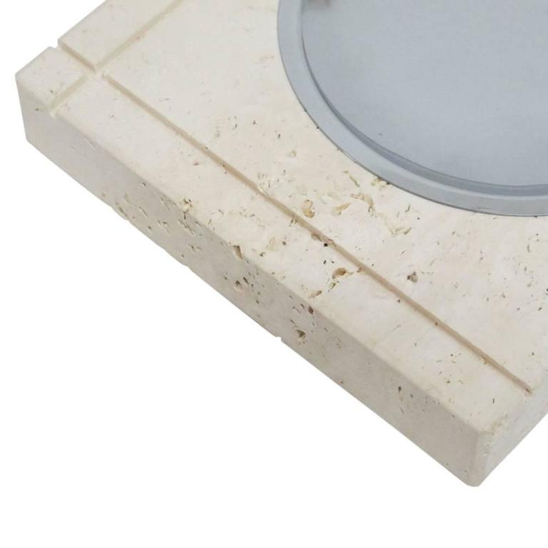 F. Lli Mannelli Ashtray, Travertine and Stainless Steel, Signed In Good Condition For Sale In New York, NY