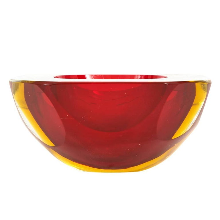 Murano Glass Bowl, Red and Amber Yellow, Signed In Good Condition For Sale In New York, NY