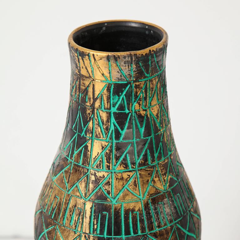 Gold Italy Platinum: Raymor Bitossi Ceramic Vase Incised Gold Platinum Green