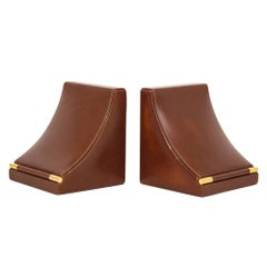 Gucci Bookends Leather Brass Oxblood Cordovan Signed, Italy, 1950s