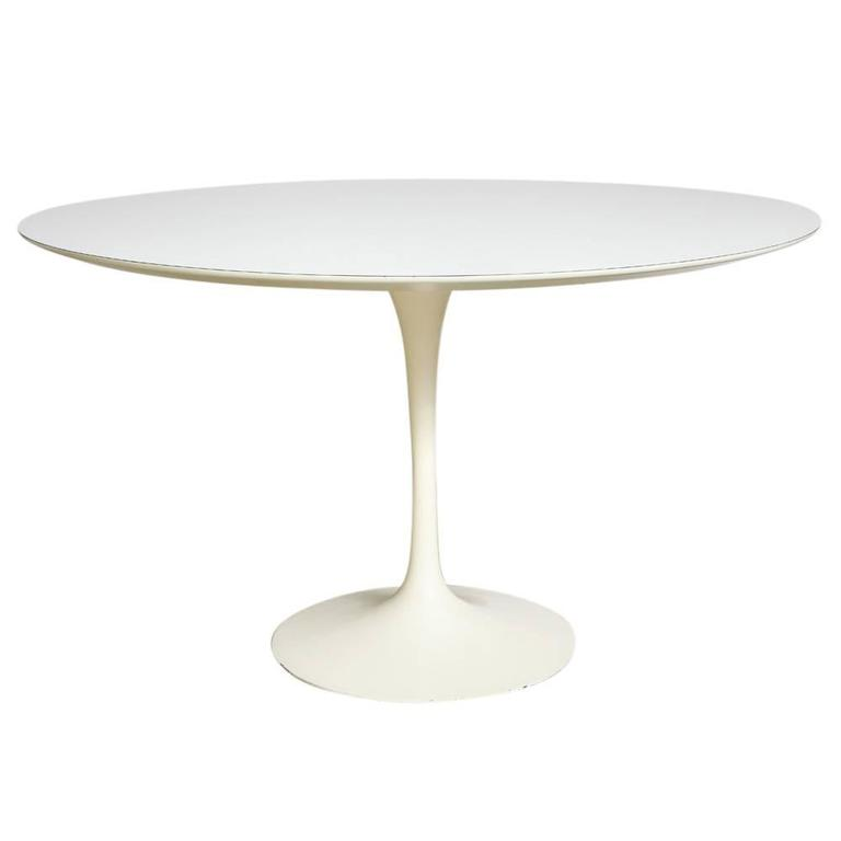 Saarinen Knoll Dining Table White Laminate Inches Circular USA - 48 inch oval dining table