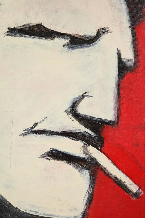 Modern Robert Loughlin, Billy Beer, Painting on Canvas Panel, White, Black, Red, Signed For Sale