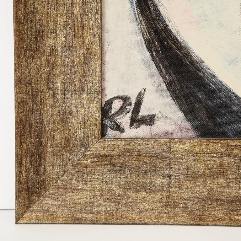 American Robert Loughlin, Billy Beer, Painting on Canvas Panel, White, Black, Red, Signed For Sale