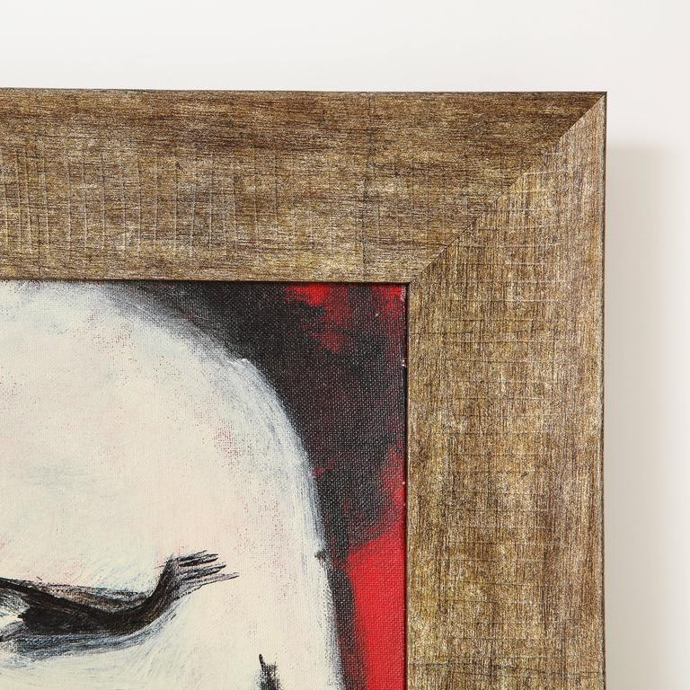 Hand-Painted Robert Loughlin, Billy Beer, Painting on Canvas Panel, White, Black, Red, Signed For Sale