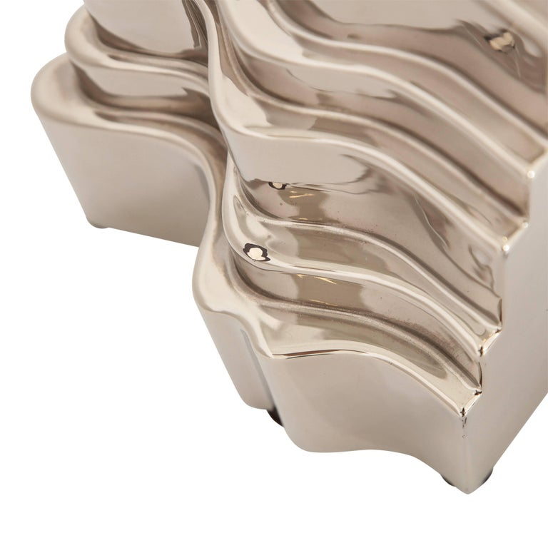 Late 20th Century Sergio Asti Collina Vases, Ceramic, Metallic Silver Chrome, Signed For Sale