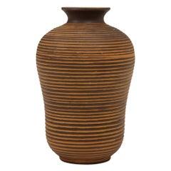 Dümler & Breiden Porcelain Ribbed Striated Brown Vase Signed Germany, 1960s