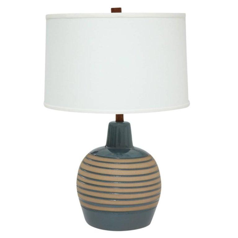 Martz Table Ceramic Table Lamp Slate Blue Tan Incised Signed USA, 1960s