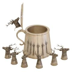 Gucci Stag Ice Bucket with Six Stirrup Cups Silver Plate Signed Italy 1970s