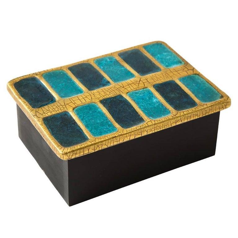 Francois Lembo Ceramic Box Gold Blue Black Wood, France, 1970s