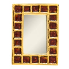 Francois Lembo Ceramic Mirror Gold Red Signed, France, 1970s