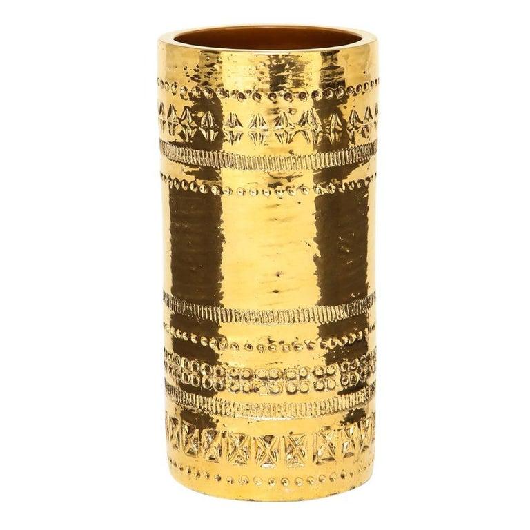 Bitossi Gold Ceramic Pottery Metallic Vase Signed Italy 1960s For