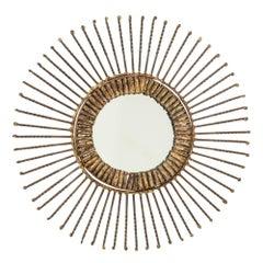 C. Jere Mirror Sunburst Bronze Brass Signed USA 1960s