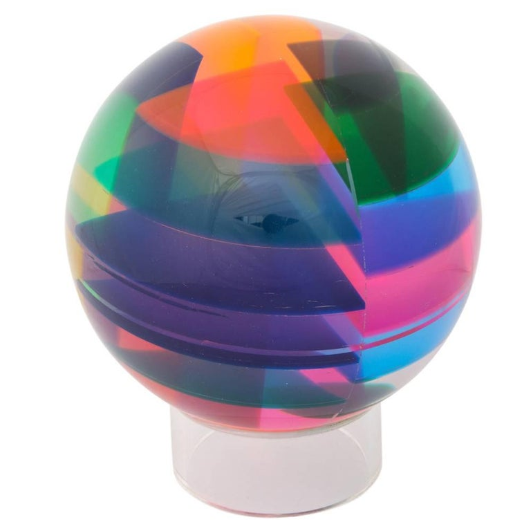 Vasa Mihich Sphere, Laminated Cast Acrylic, Blue, Magenta and Orange, Signed In Good Condition For Sale In New York, NY