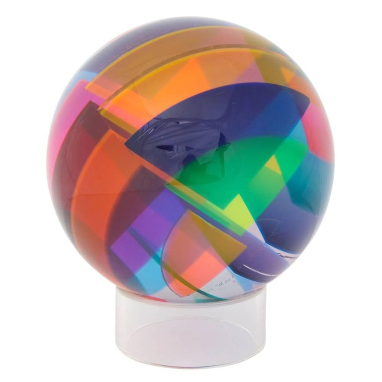 Vasa Mihich Sphere, Laminated Cast Acrylic, Blue, Magenta and Orange, Signed For Sale 3