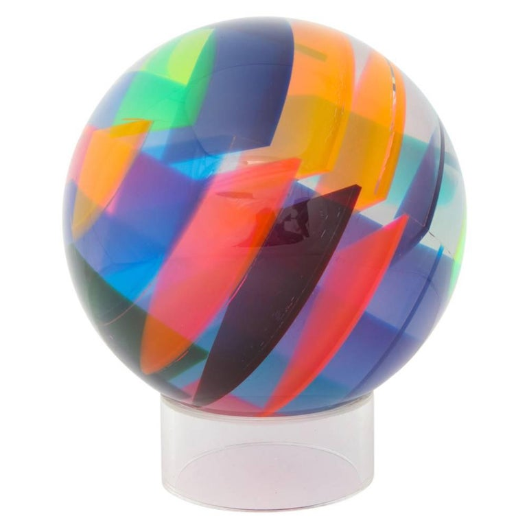 Vasa Mihich Sphere, Laminated Cast Acrylic, Blue, Magenta and Orange, Signed For Sale 2