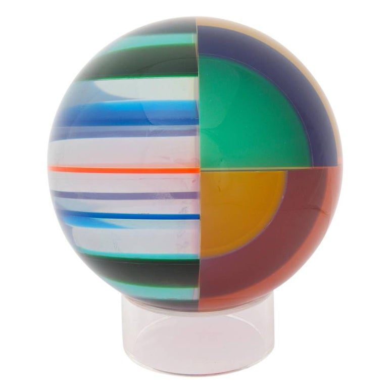 American Vasa Mihich Sphere, Laminated Cast Acrylic, Blue, Magenta and Orange, Signed For Sale