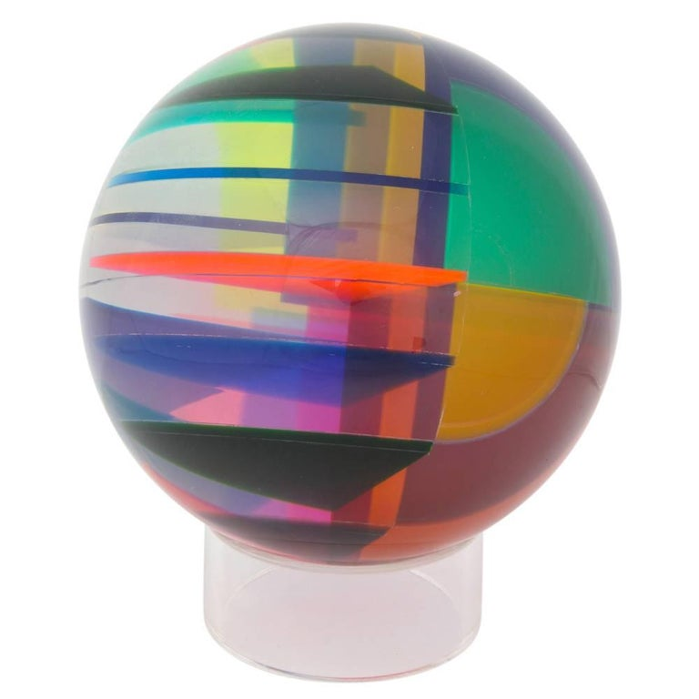 Late 20th Century Vasa Mihich Sphere, Laminated Cast Acrylic, Blue, Magenta and Orange, Signed For Sale