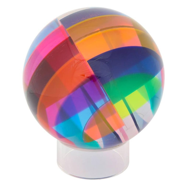 Modern Vasa Mihich Sphere, Laminated Cast Acrylic, Blue, Magenta and Orange, Signed For Sale