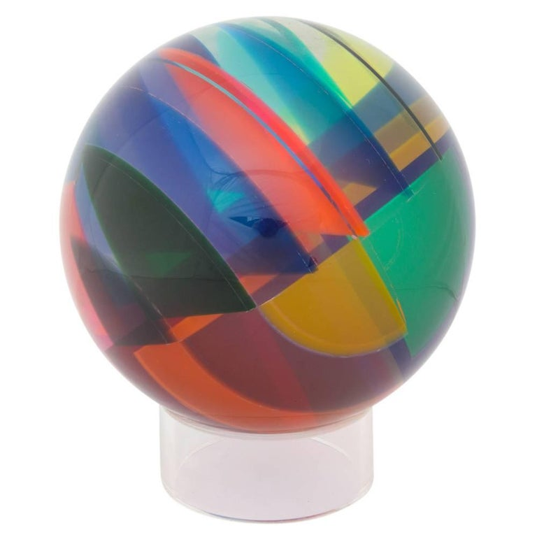Vasa Mihich Sphere, Laminated Cast Acrylic, Blue, Magenta and Orange, Signed For Sale 1