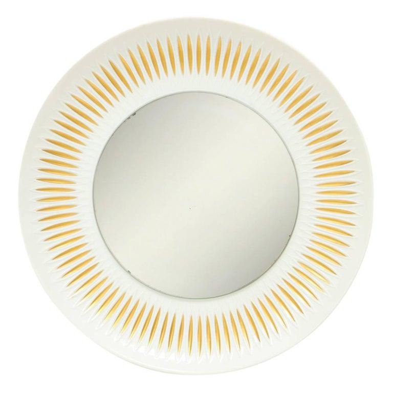 Hutschenreuther Porcelain Mirror Gold Sunburst Signed Germany, 1960s