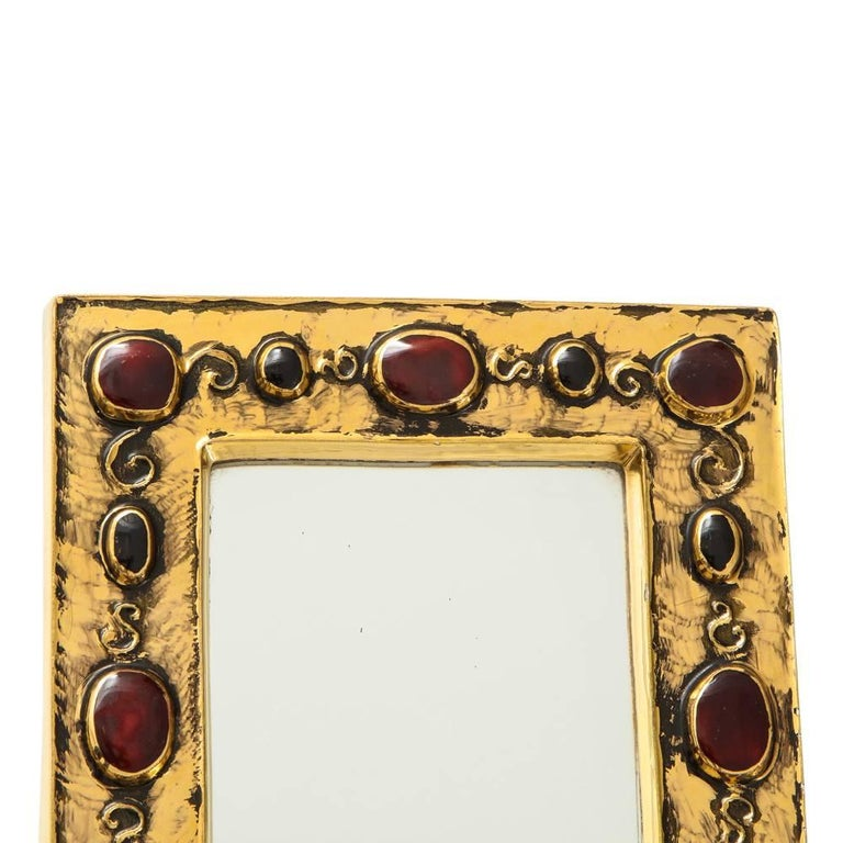 Modern Francois Lembo Ceramic Mirror Gold Red Jewel Signed, France, 1970s For Sale