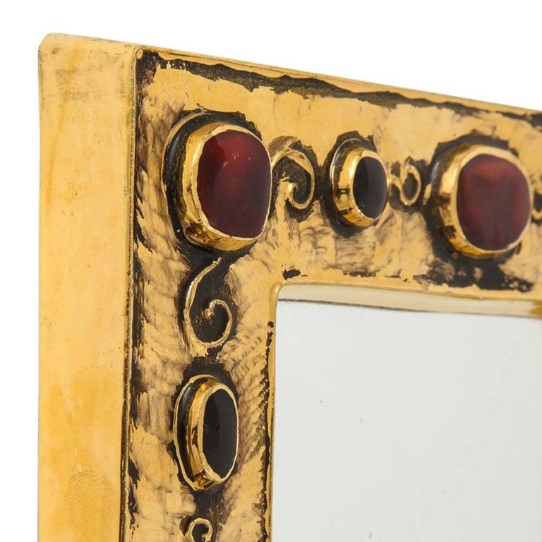 Glazed Francois Lembo Ceramic Mirror Gold Red Jewel Signed, France, 1970s For Sale