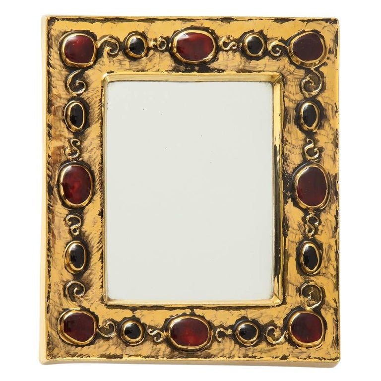 Francois Lembo Ceramic Mirror Gold Red Jewel Signed, France, 1970s For Sale