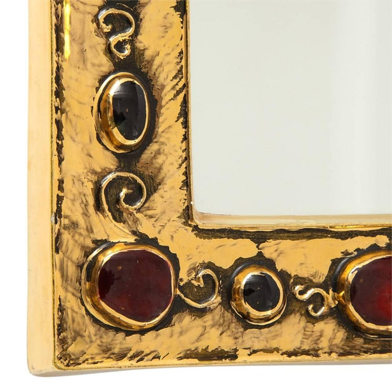 French Francois Lembo Ceramic Mirror Gold Red Jewel Signed, France, 1970s For Sale