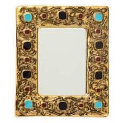 Francois Lembo Ceramic Mirror Gold Black Turquoise Red Jewel Signed France 1970s