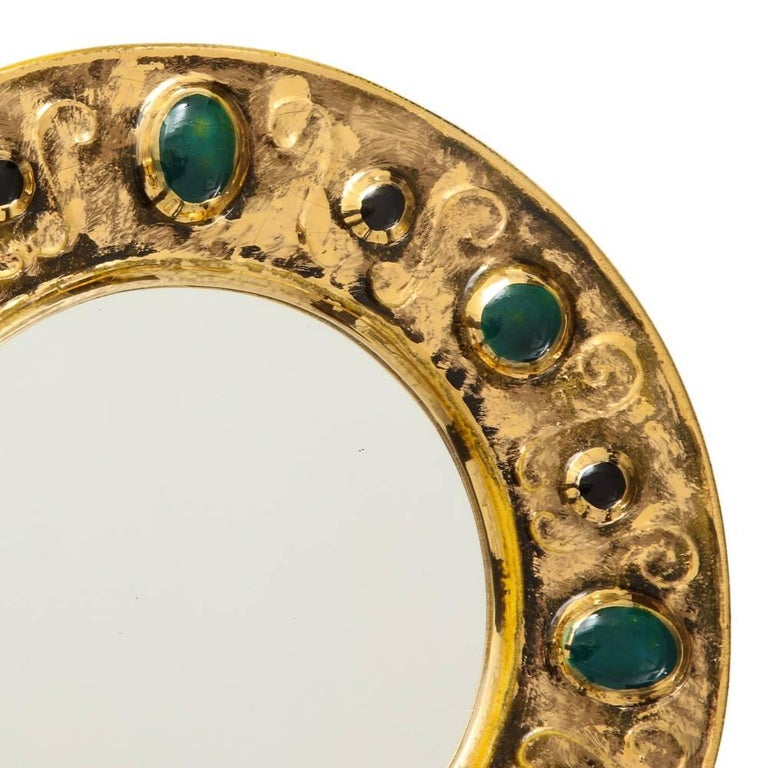 Mid-Century Modern Francois Lembo Mirror, Ceramic, Jeweled, Gold, Emerald Green, Signed For Sale