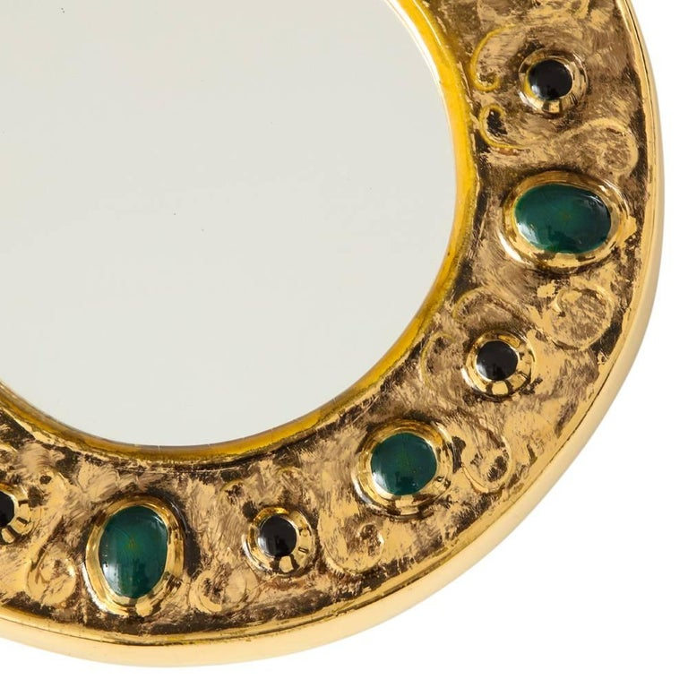French Francois Lembo Mirror, Ceramic, Jeweled, Gold, Emerald Green, Signed For Sale